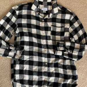 Girls Black & White Flannel Shirt